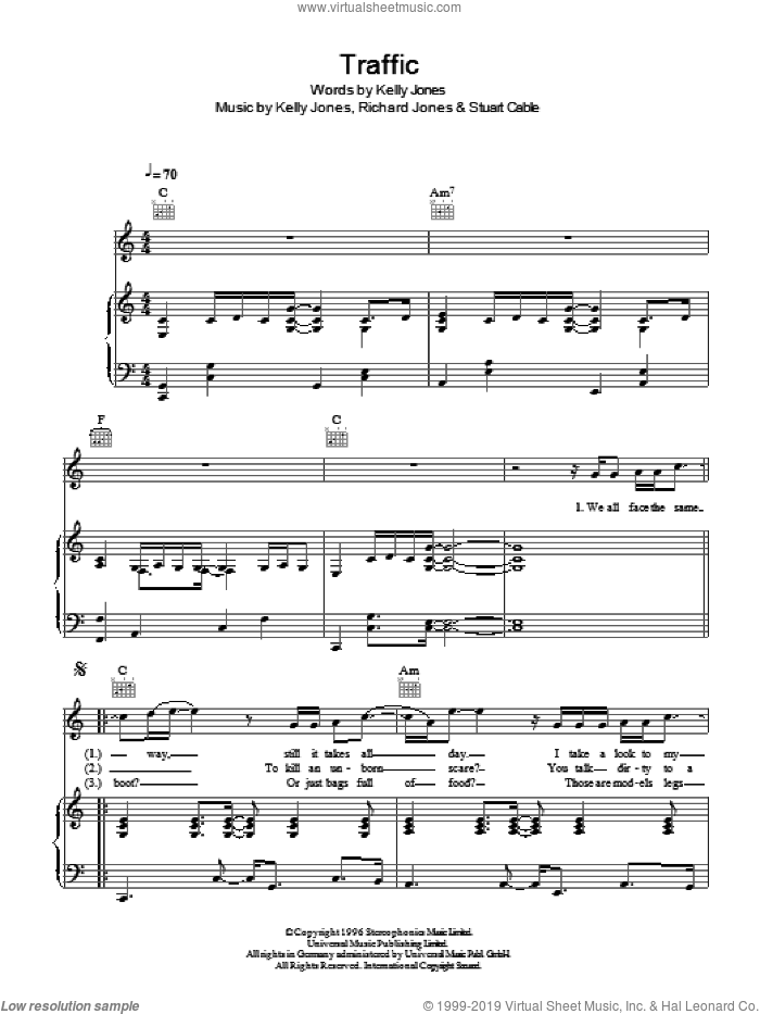 Traffic sheet music for voice, piano or guitar by Kelly Jones, Stereophonics, Richard Jones and Stuart Cable. Score Image Preview.
