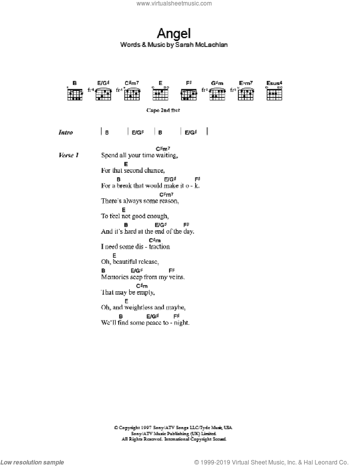 Angel sheet music for guitar (chords) by Sarah McLachlan, intermediate. Score Image Preview.