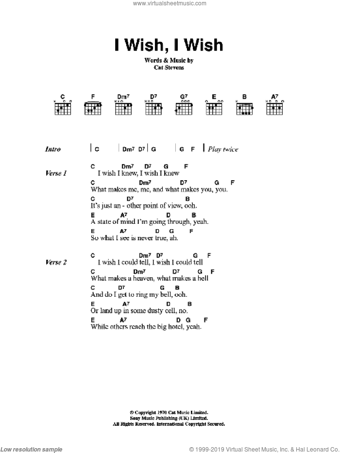 I Wish, I Wish sheet music for guitar (chords) by Cat Stevens, intermediate skill level