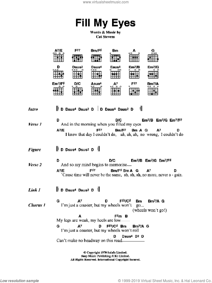 Fill My Eyes sheet music for guitar (chords) by Cat Stevens, intermediate skill level