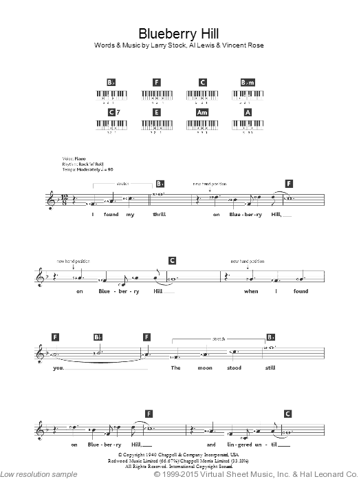 Blueberry Hill sheet music for piano solo (chords, lyrics, melody) by Vincent Rose