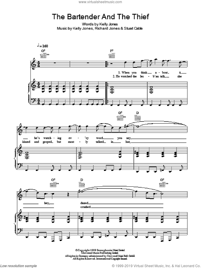 The Bartender And The Thief sheet music for voice, piano or guitar by Stereophonics, Kelly Jones, Richard Jones and Stuart Cable, intermediate. Score Image Preview.