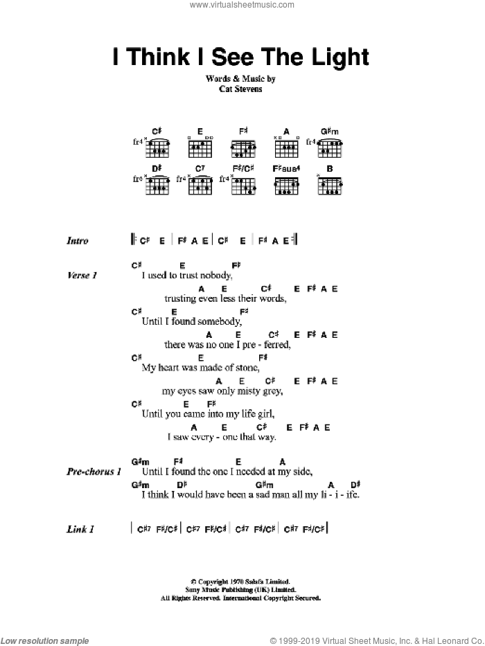 I Think I See The Light sheet music for guitar (chords) by Cat Stevens, intermediate