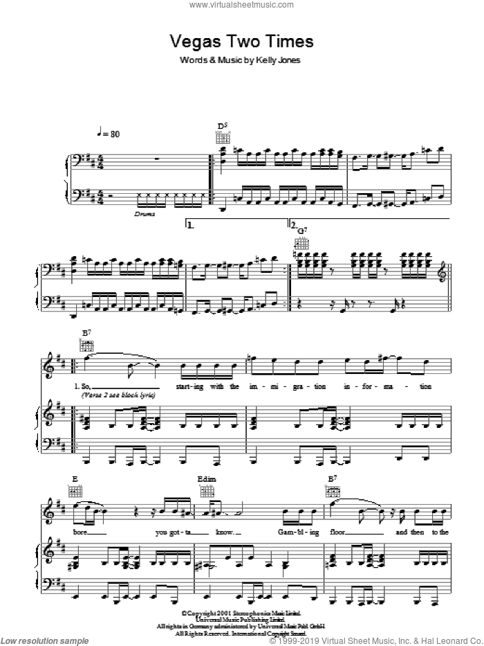 Vegas Two Times sheet music for voice, piano or guitar by Kelly Jones and Stereophonics. Score Image Preview.