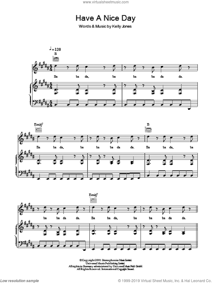 Have A Nice Day sheet music for voice, piano or guitar by Stereophonics and Kelly Jones, intermediate skill level