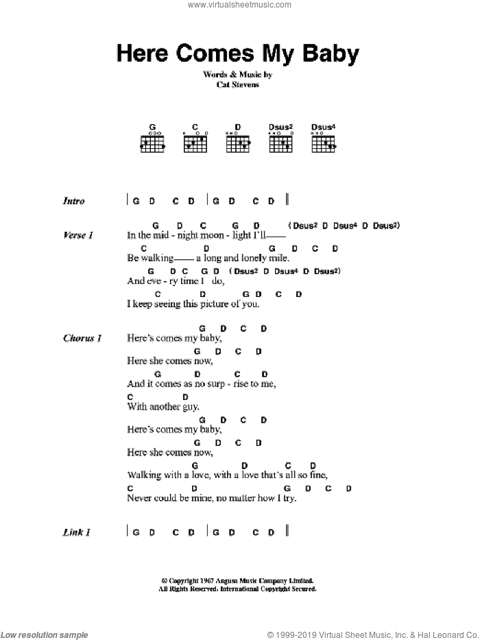Here Comes My Baby sheet music for guitar (chords) by Cat Stevens, intermediate guitar (chords). Score Image Preview.