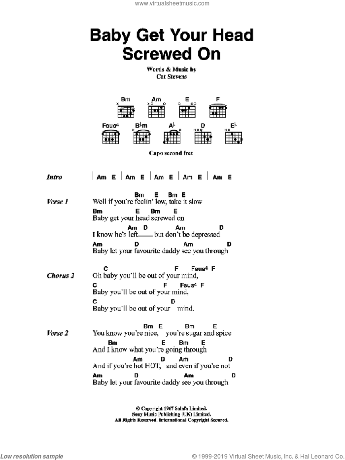 Baby Get Your Head Screwed On sheet music for guitar (chords) by Cat Stevens, intermediate. Score Image Preview.