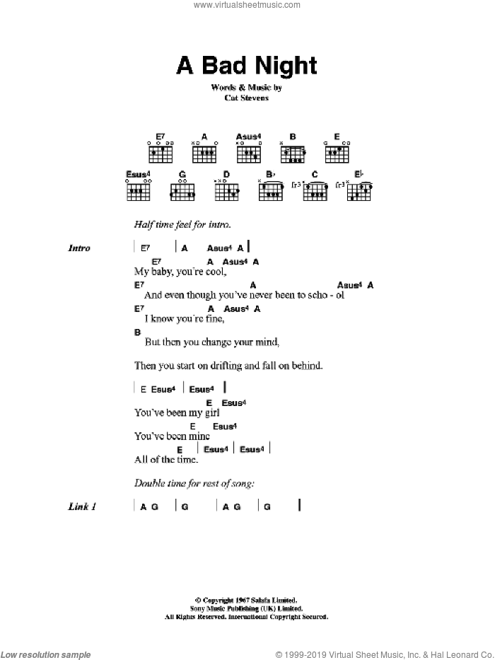 A Bad Night sheet music for guitar (chords) by Cat Stevens, intermediate guitar (chords). Score Image Preview.