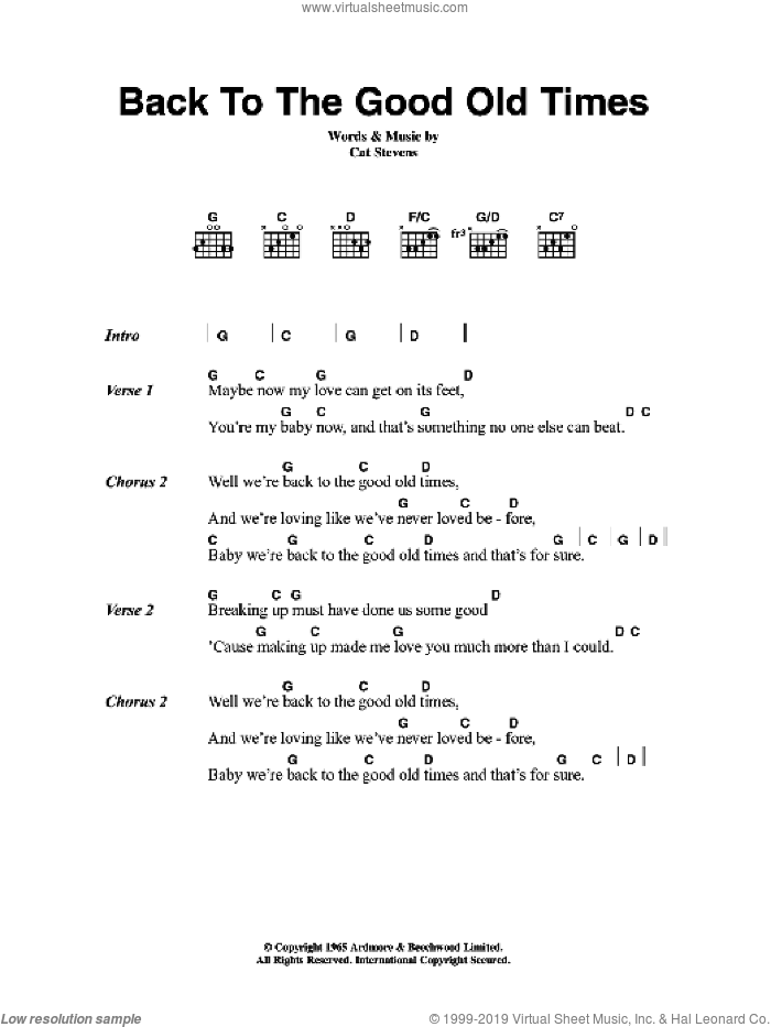 Back To The Good Old Times sheet music for guitar (chords) by Cat Stevens. Score Image Preview.