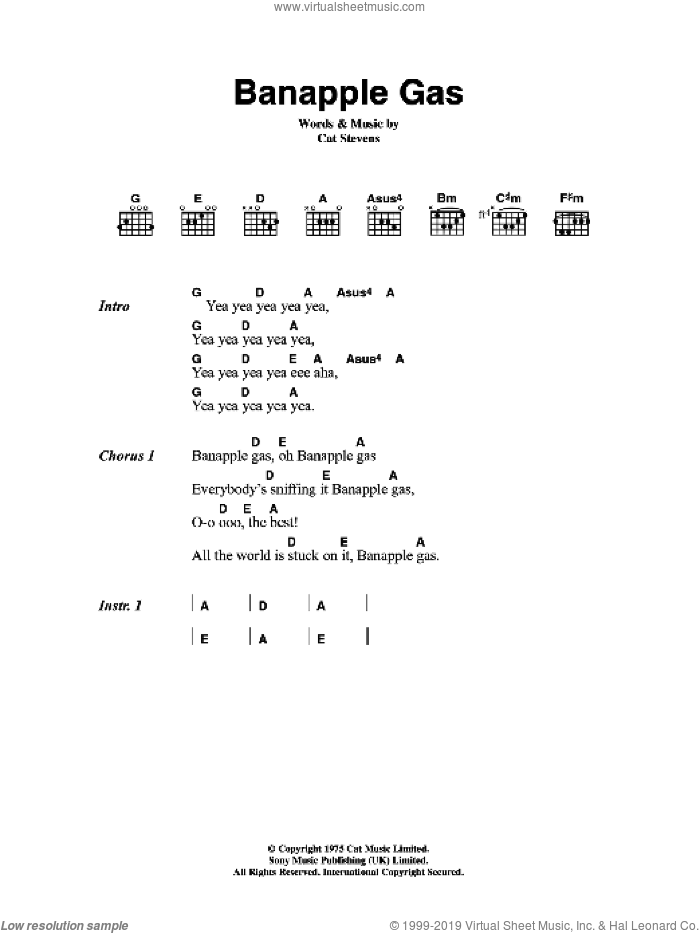 Banapple Gas sheet music for guitar (chords) by Cat Stevens, intermediate. Score Image Preview.
