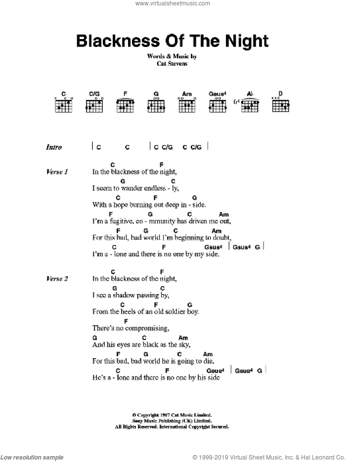 Blackness Of The Night sheet music for guitar (chords) by Cat Stevens, intermediate guitar (chords). Score Image Preview.