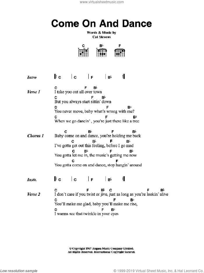 Come On And Dance sheet music for guitar (chords) by Cat Stevens. Score Image Preview.