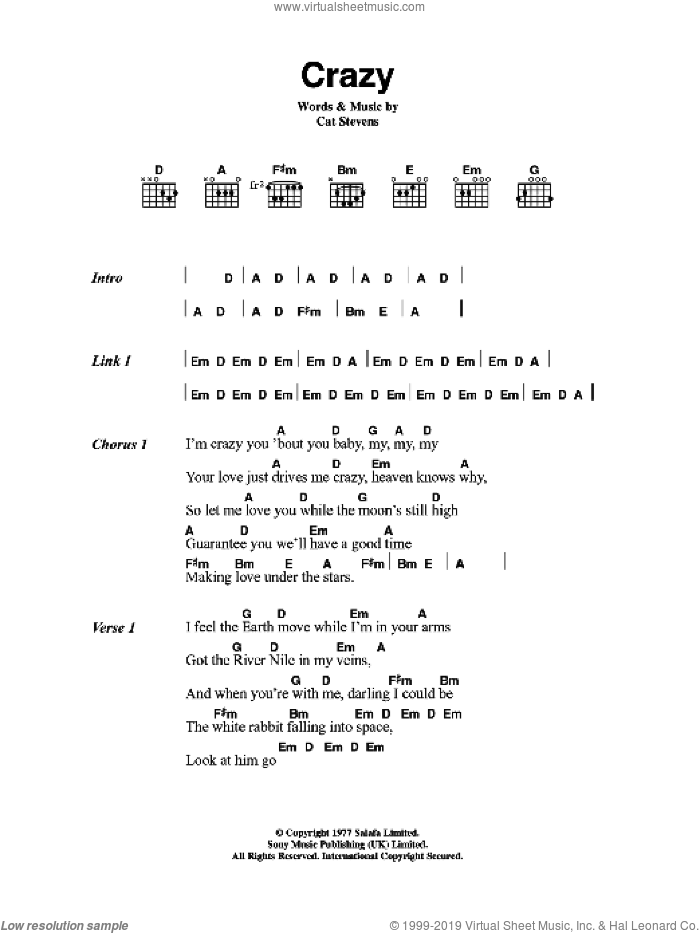 Crazy sheet music for guitar (chords) by Cat Stevens. Score Image Preview.