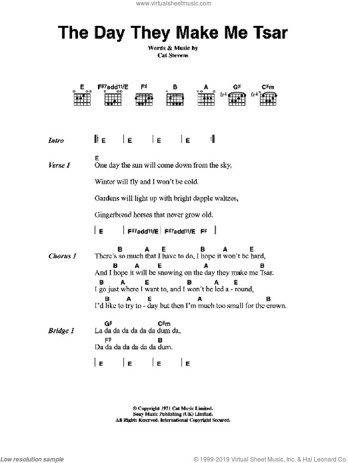 The Day They Make Me Tsar sheet music for guitar (chords) by Cat Stevens, intermediate guitar (chords). Score Image Preview.