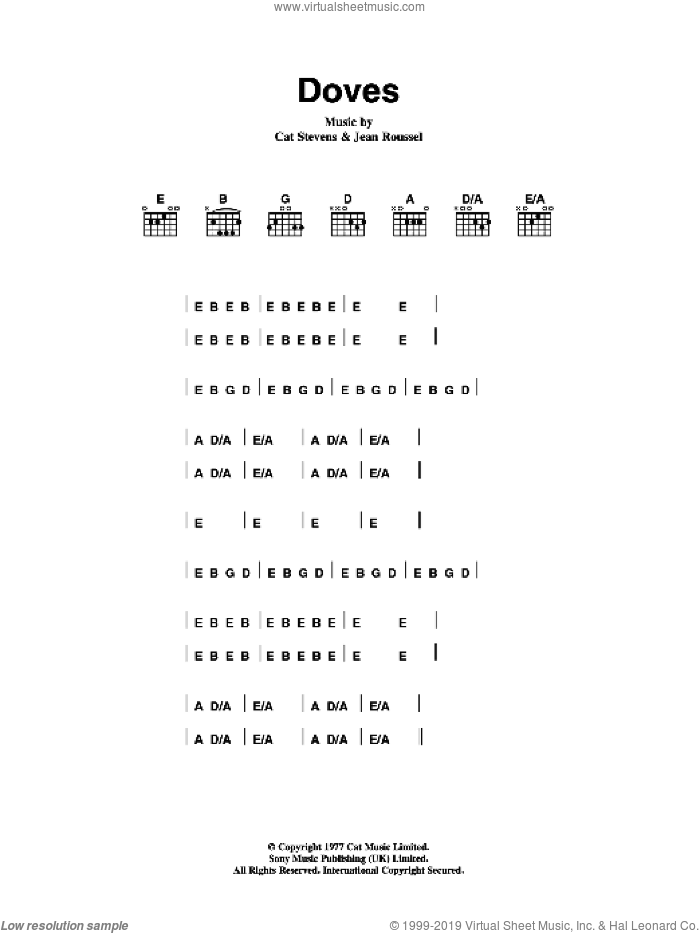 Doves sheet music for guitar (chords) by Cat Stevens, intermediate. Score Image Preview.