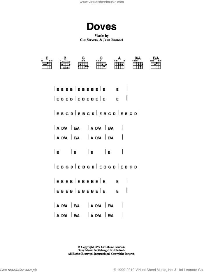 Doves sheet music for guitar (chords) by Cat Stevens and Jean Roussel, intermediate skill level