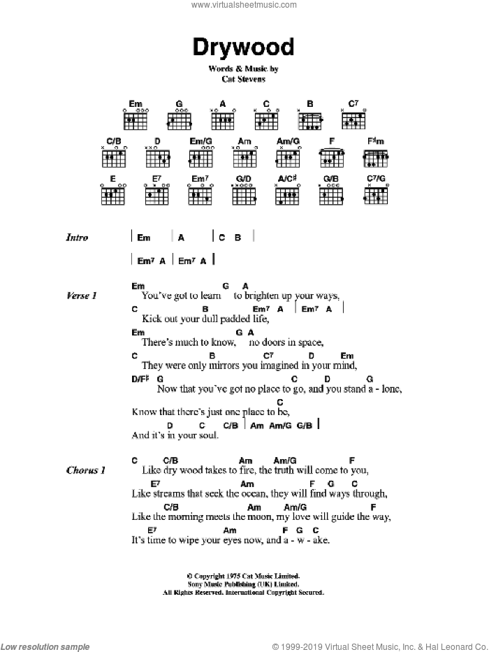 Drywood sheet music for guitar (chords) by Cat Stevens. Score Image Preview.