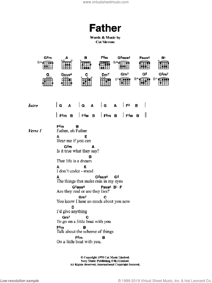 Father sheet music for guitar (chords) by Cat Stevens. Score Image Preview.