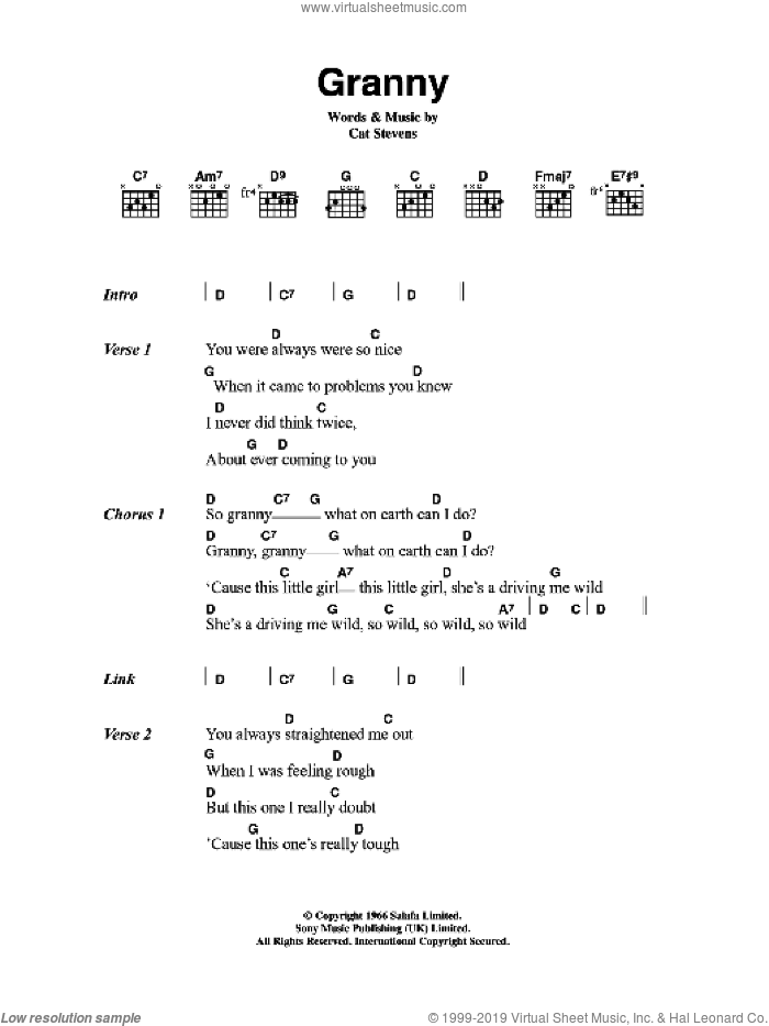 Granny sheet music for guitar (chords) by Cat Stevens. Score Image Preview.