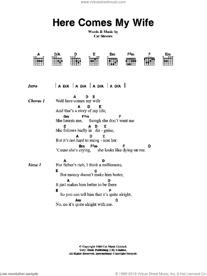 Here Comes My Wife sheet music for guitar (chords) by Cat Stevens, intermediate
