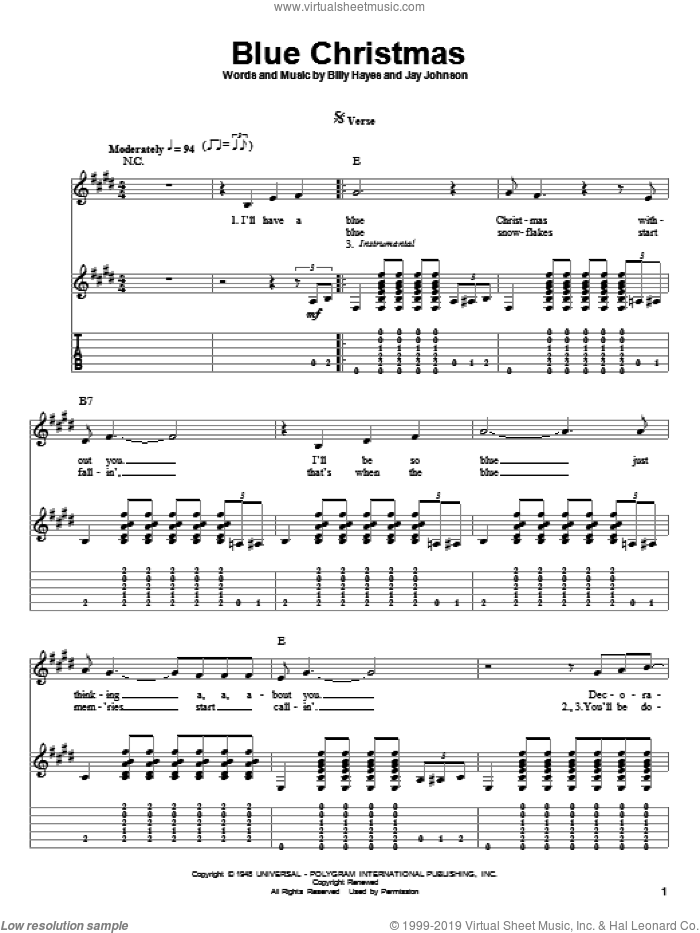 Blue Christmas sheet music for guitar (tablature, play-along) by Elvis Presley and Jay Johnson. Score Image Preview.