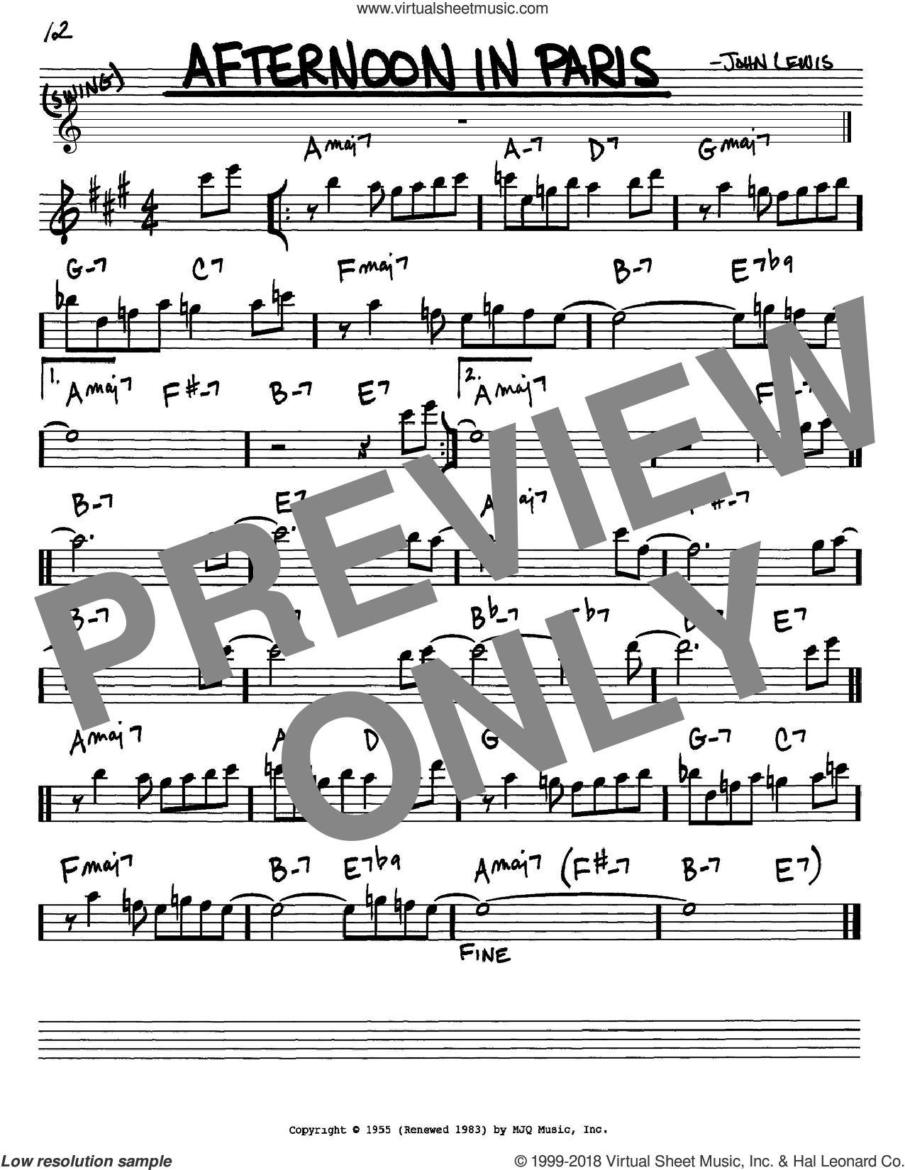 Afternoon In Paris sheet music for voice and other instruments (in Eb) by John Lewis, intermediate skill level