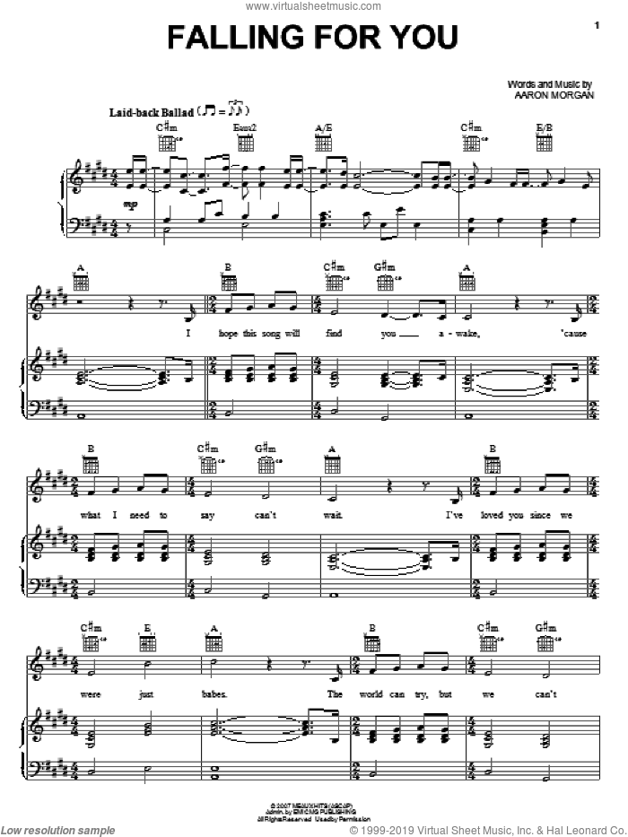 Falling For You sheet music for voice, piano or guitar by Aaron Morgan. Score Image Preview.