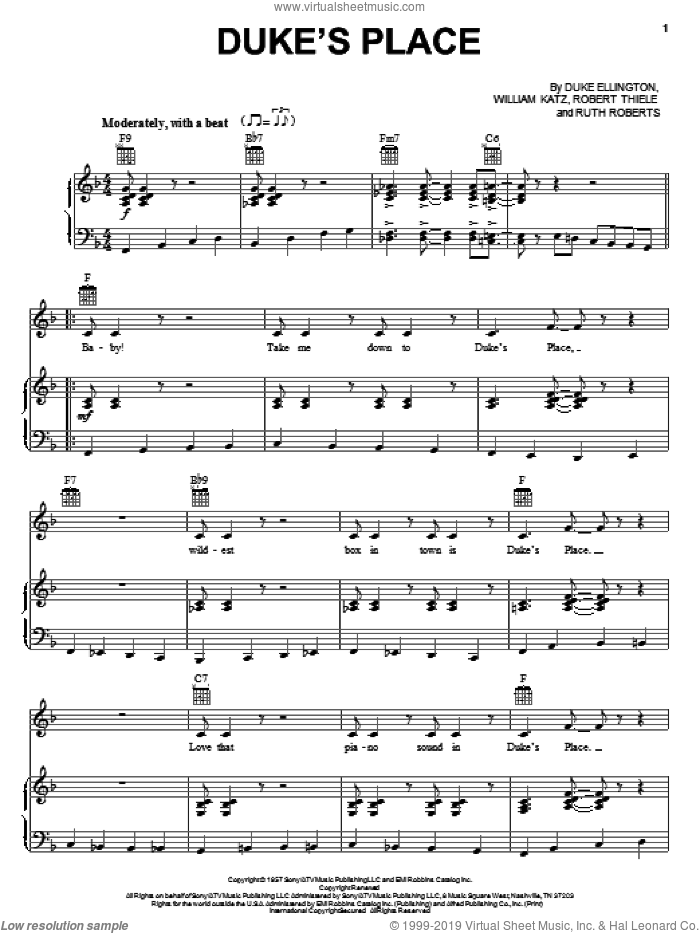 Duke's Place sheet music for voice, piano or guitar by William Katz