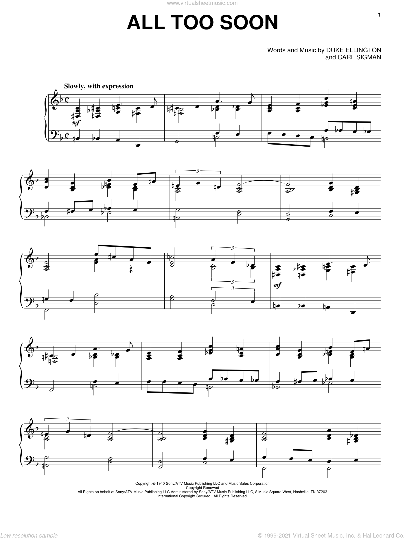 All Too Soon sheet music for voice, piano or guitar by Duke Ellington and Carl Sigman, intermediate. Score Image Preview.