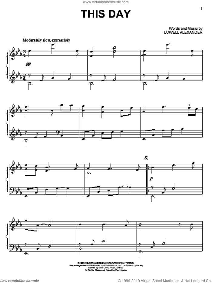 This Day sheet music for piano solo by Point Of Grace and Lowell Alexander, wedding score, intermediate piano. Score Image Preview.
