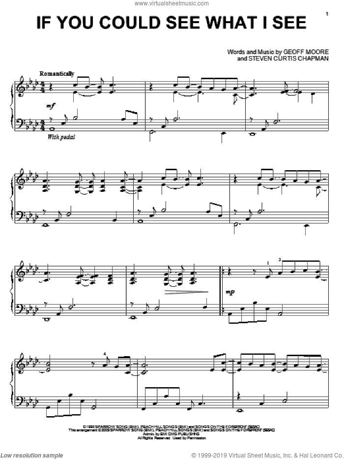 If You Could See What I See sheet music for piano solo by Geoff Moore & The Distance, Geoff Moore and Steven Curtis Chapman, wedding score, intermediate skill level