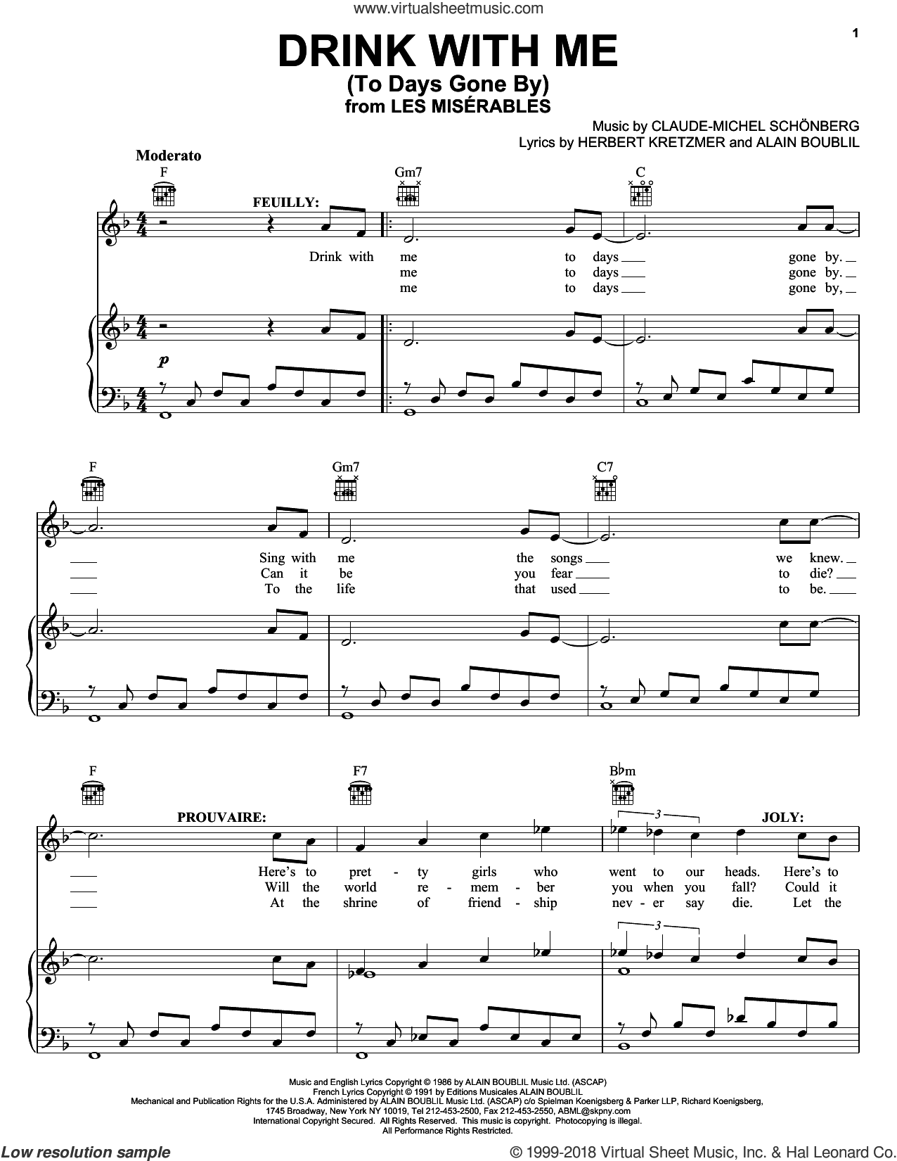 Drink With Me (To Days Gone By) sheet music for voice, piano or guitar by Alain Boublil, Les Miserables (Musical), Claude-Michel Schonberg and Herbert Kretzmer, intermediate skill level
