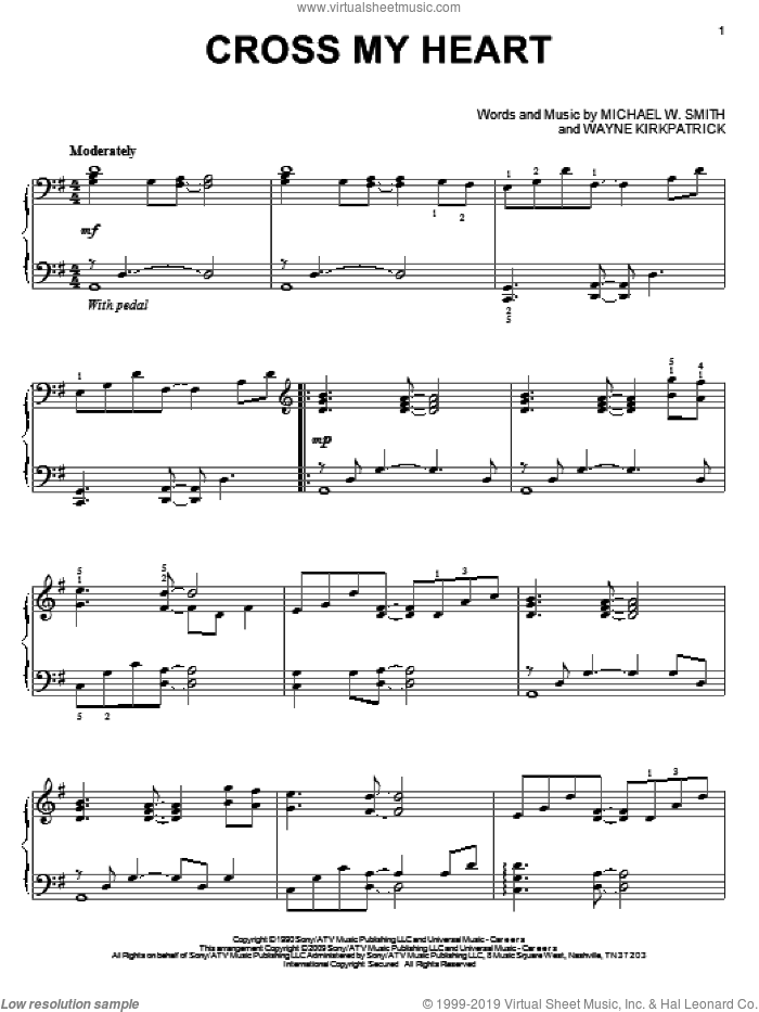 Cross My Heart sheet music for piano solo by Michael W. Smith and Wayne Kirkpatrick, wedding score, intermediate. Score Image Preview.
