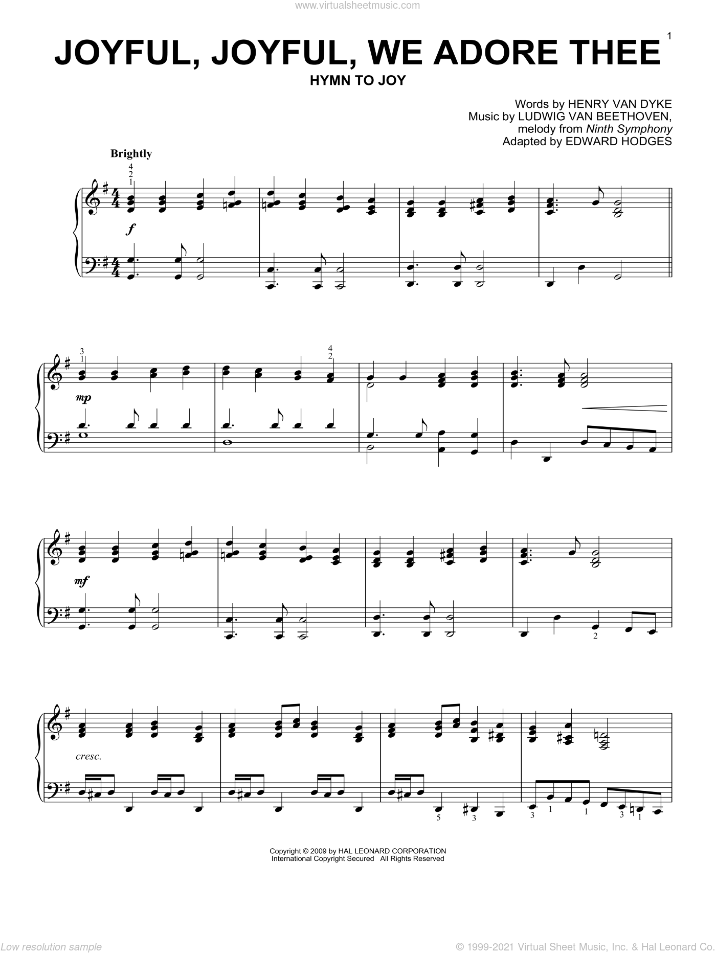 Joyful, Joyful, We Adore Thee sheet music for piano solo by Ludwig van Beethoven, Edward Hodges and Henry van Dyke, classical wedding score, intermediate skill level