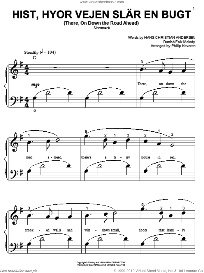 Hist, Hyor Vejen Slar En Bugt (There, On Down The Road Ahead) sheet music for piano solo (big note book)  and Phillip Keveren. Score Image Preview.