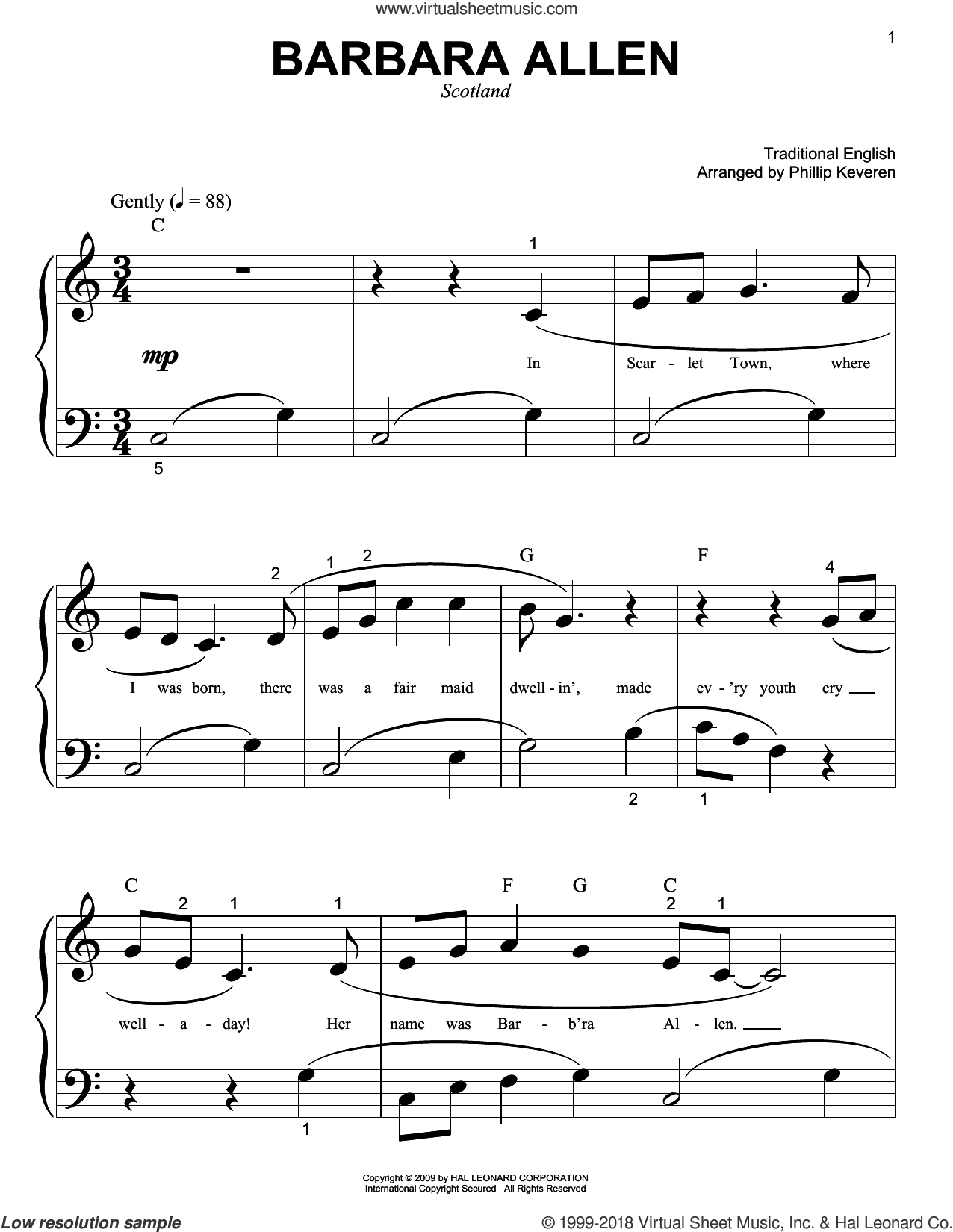 Barbara Allen sheet music for piano solo (big note book)  and Phillip Keveren. Score Image Preview.