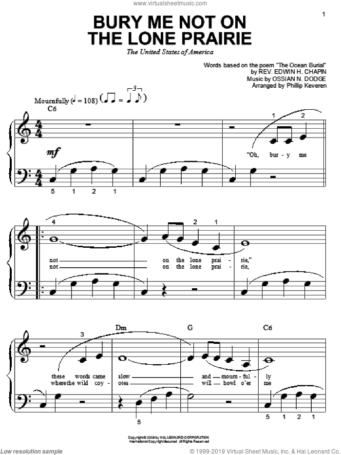 Bury Me Not On The Lone Prairie sheet music for piano solo (big note book) by E.H. Chapin, Phillip Keveren and Ossian N. Dodge, easy piano (big note book)