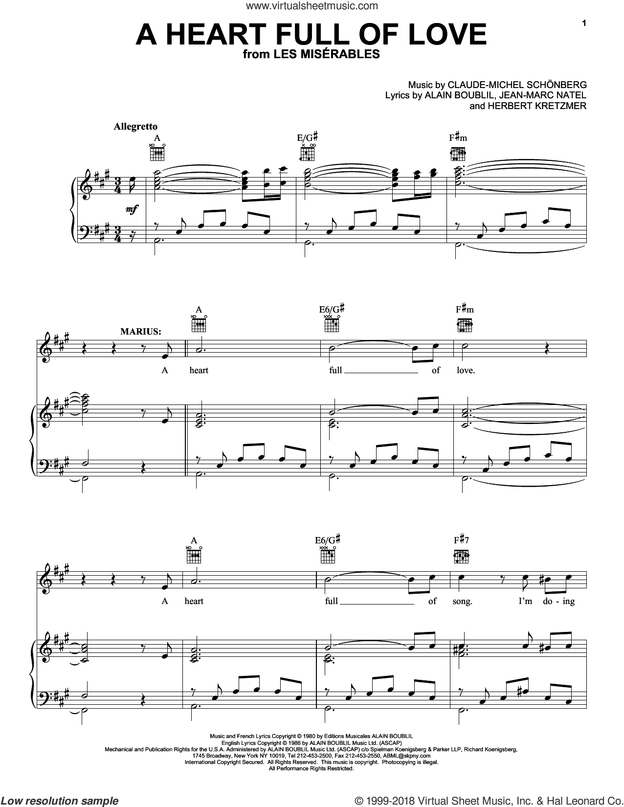 A Heart Full Of Love sheet music for voice, piano or guitar by Jean-Marc Natel, Alain Boublil, Claude-Michel Schonberg and Herbert Kretzmer. Score Image Preview.