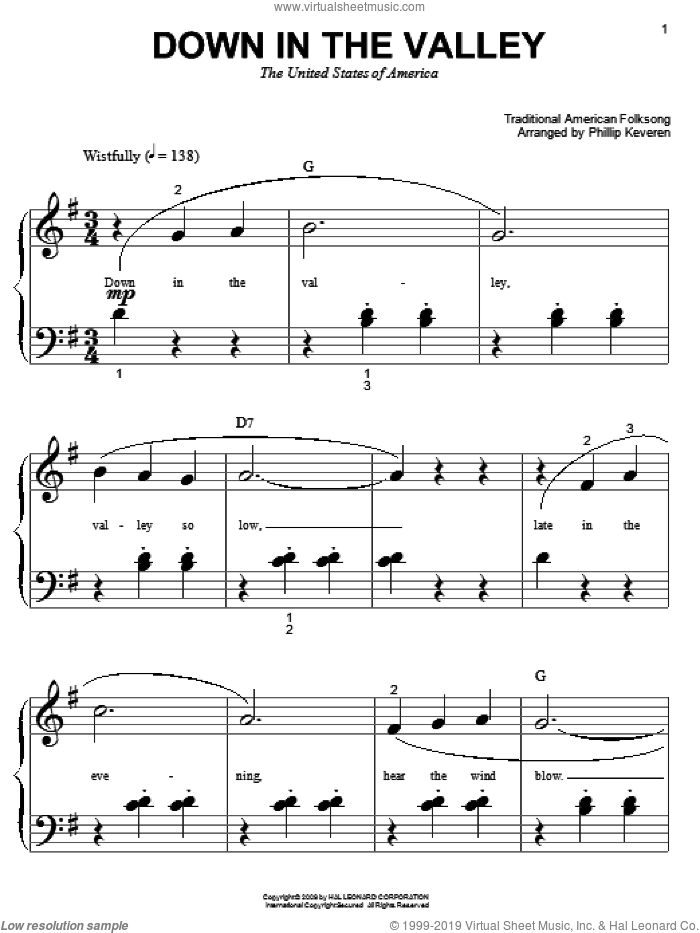 Down In The Valley sheet music for piano solo (big note book)  and Phillip Keveren, easy piano (big note book)