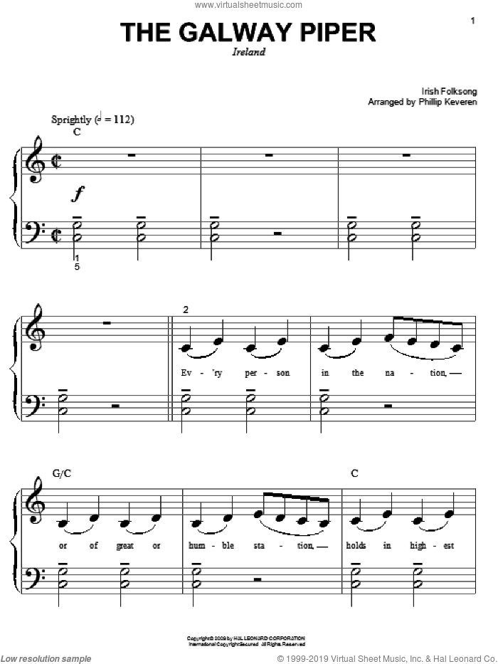 The Galway Piper sheet music for piano solo (big note book)  and Phillip Keveren. Score Image Preview.