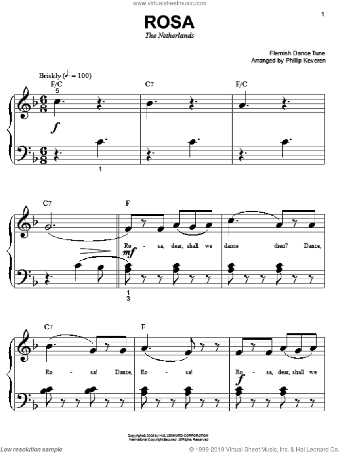Rosa sheet music for piano solo (big note book) by Flemish Dance Tune and Phillip Keveren. Score Image Preview.