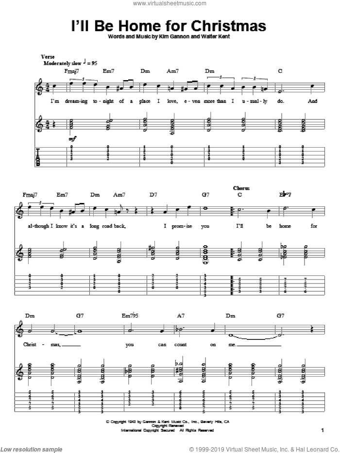 I'll Be Home For Christmas sheet music for guitar (tablature, play-along) by Bing Crosby, Kim Gannon and Walter Kent, intermediate skill level