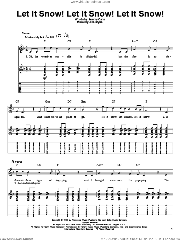 Let It Snow! Let It Snow! Let It Snow! sheet music for guitar (tablature, play-along) by Sammy Cahn and Jule Styne, intermediate skill level