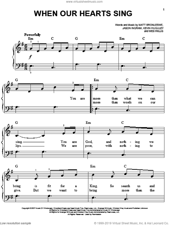 When Our Hearts Sing sheet music for piano solo by Wes Willis, Jason Ingram and Matt Bronleewe