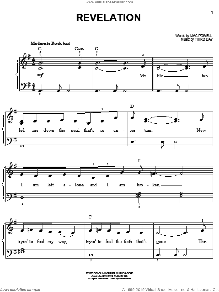 Revelation sheet music for piano solo by Third Day and Mac Powell, easy skill level