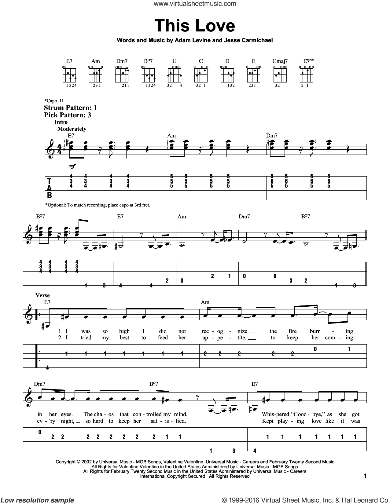 This Love sheet music for guitar solo (easy tablature) by Jesse Carmichael, Maroon 5 and Adam Levine. Score Image Preview.