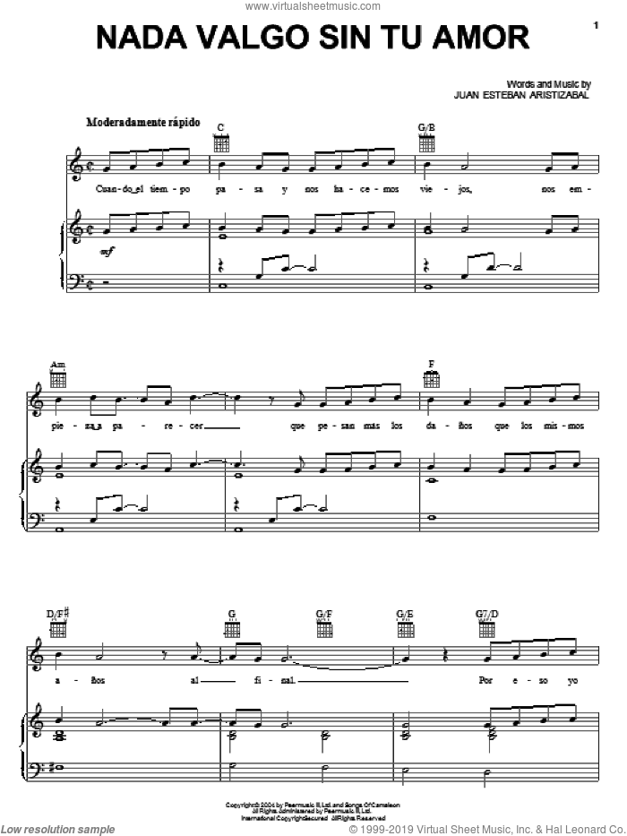 Nada Valgo Sin Tu Amor sheet music for voice, piano or guitar by Juanes and Juan Esteban Aristizabal. Score Image Preview.