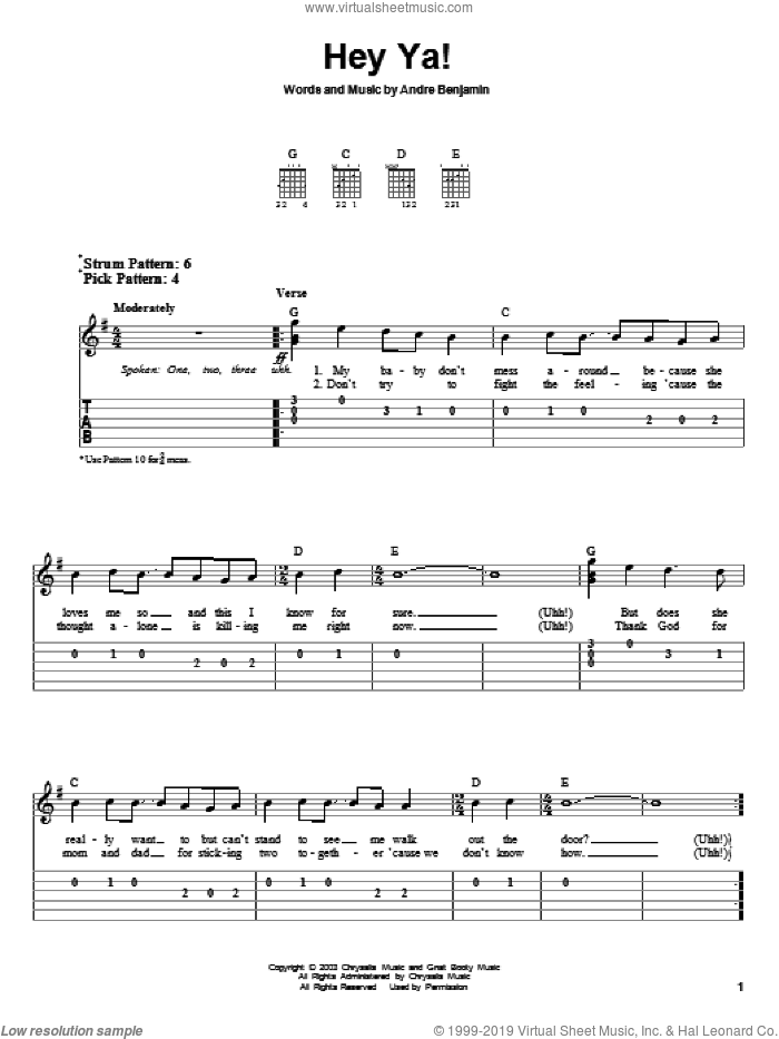 Hey Ya! sheet music for guitar solo (easy tablature) by OutKast and Andre Benjamin, easy guitar (easy tablature)