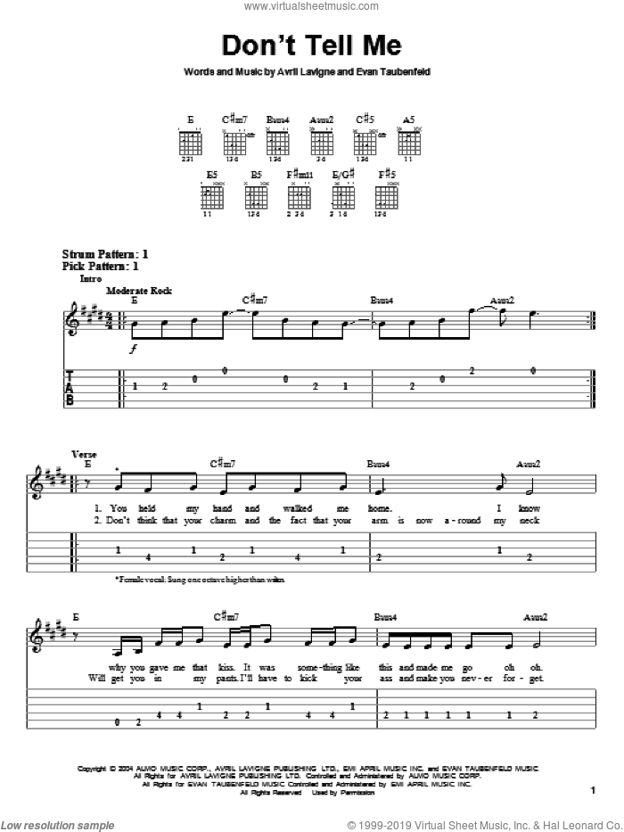 Don't Tell Me sheet music for guitar solo (easy tablature) by Evan Taubenfeld and Avril Lavigne. Score Image Preview.