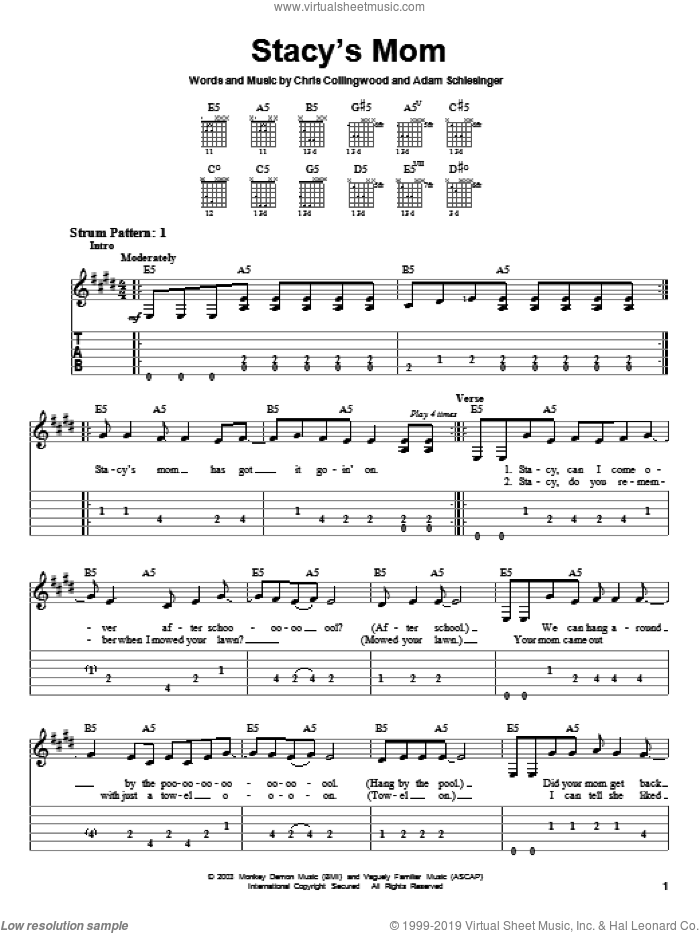 Stacy's Mom sheet music for guitar solo (easy tablature) by Fountains Of Wayne, Adam Schlesinger and Chris Collingwood, easy guitar (easy tablature)